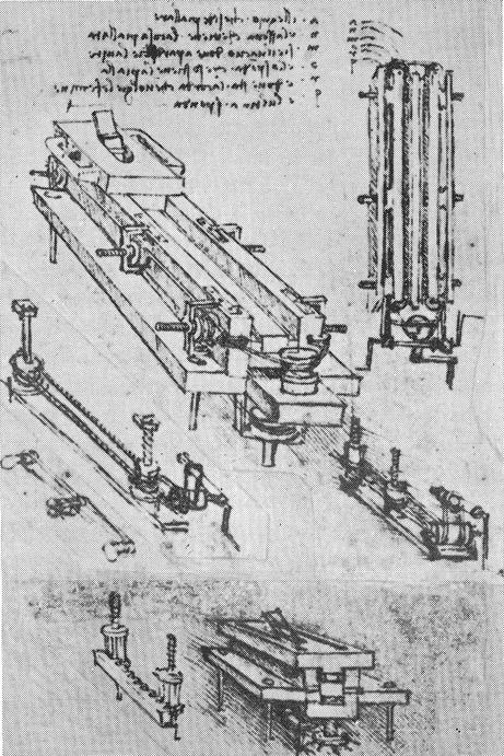 Skottbenken som Leonardo da Vinci utvikla og teikna.
