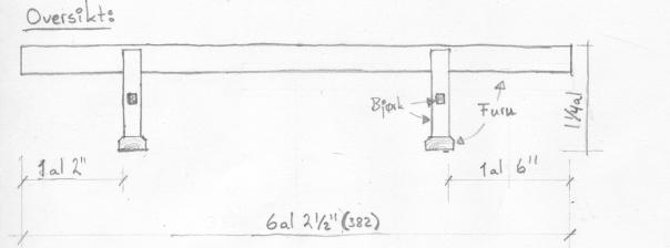 Oversiktsteikning med måla på skottbenken frå Nereng. Måla er i norske alen, ein alen er 24 tommar (a 26,25 cm) og tilsvarar 62,8 cm. Teikning: Kolbjørn Vegar Os
