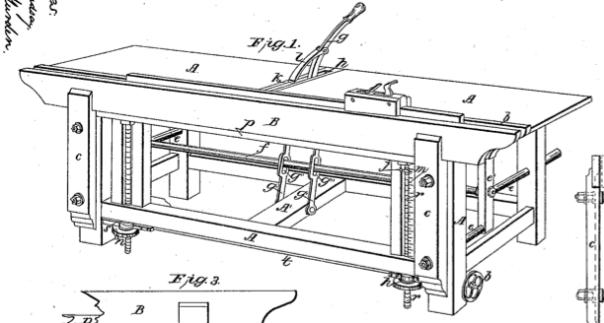 Her er ein patent  Av John E. Cryer på ein arbeidsbenk som også fungerer som skottbenk.