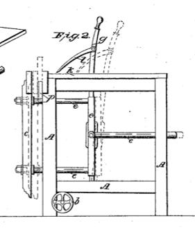 Vertikalsnitt av arbeidsbenken til John E. Cryer. Legg merke til systemet med fastspenning av bordet.