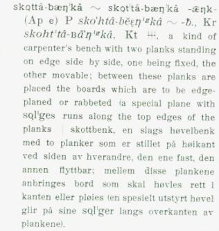Oppslaget på ordet skottbenk på samisk i ordboka til Konrad Nielsen frå 1938.