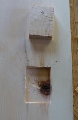 Holet er ferdig hogd ut. For å få ei god flate i botn kan ein bruke ein grunnhøvel for å jamne det siste. Foto: Roald Renmælmo