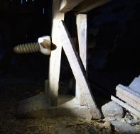 Skottbenk funnet av Anders Gimse på garden Evjen ved Lundamo i Melhus kommune. Foto: Anders Gimse