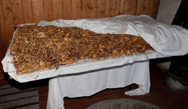 Høvelspon som vart funne brukt som isolasjon i ei attsnikra døropning på Prestegårdslåna på Melhus. Foto: Roald Renmælmo