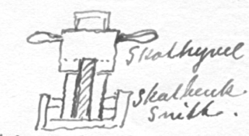 Snitt av skotbenk og skothyvel teikna i svaret frå J. Haddal.