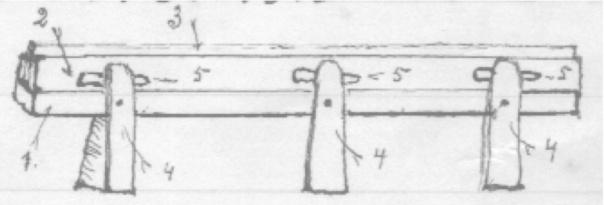 Skisse av skåtbeink av K. Gjesme i Lærdal. Tala på skissa er forklara i teksten.