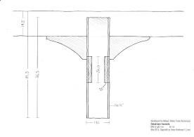 Detalj av bein, framside. Teikning: Hans Andreas H. Lien