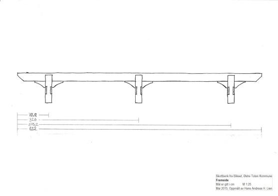 Skottbenken sett frå sida. Teikning: Hans Andreas H. Lien