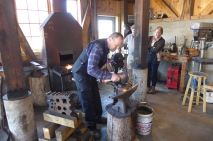Jon Dahlmo are forging a laminated plane iron at Nort House Folk School.