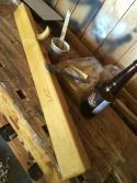 fletthøvel ferdig overflatebehandlet med rå Sienna, Stiklastadir øl og kokt linolje