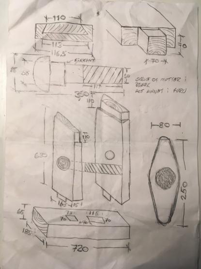 Skissen som vart tegnet i Klæbu og sammen med bilder har vært brukt til tillaging av skottbenken.