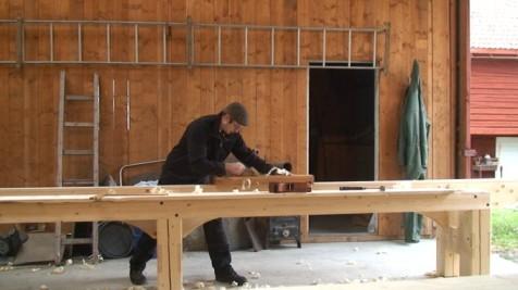 Retting av langborda med langhøvel